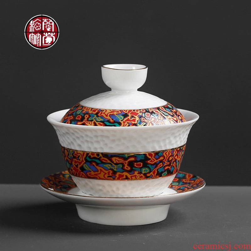 Colored enamel ceramic kung fu tea cup three hand grasp tureen tea set 5 Chinese style restoring ancient ways is big