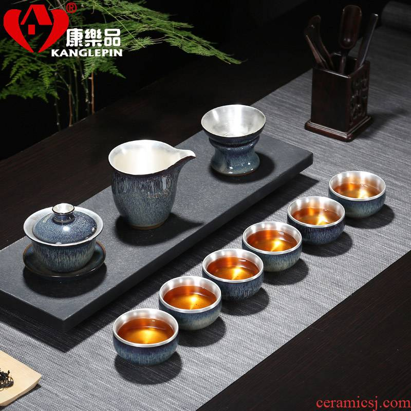 Recreational product kung fu sterling silver, silver tea set bladder household ceramics building light round drum teapot obsidian tureen tea cups