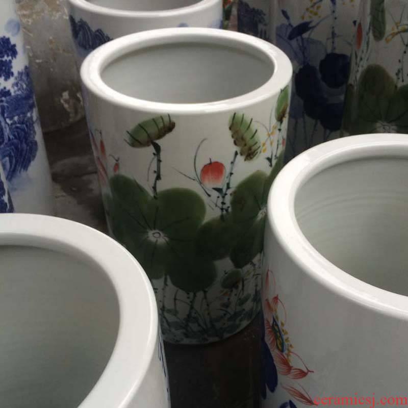 Jingdezhen hand - made HeHuaJian tube ceramic vase sitting room, study Chinese penjing is suing umbrella receive a barrel