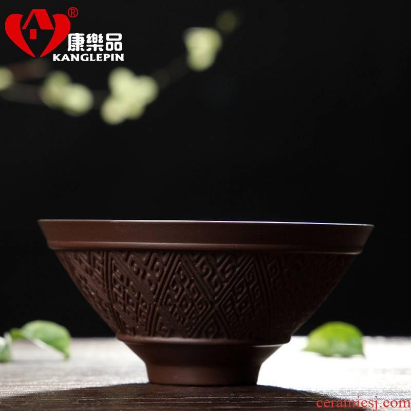 Recreational product ore yixing purple sand kung fu tea set household purple sand tea set sample tea cup noggin zhu mud koubei straight