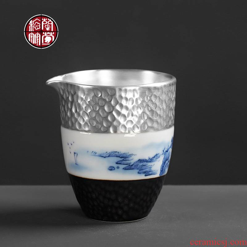 Tasted silver gilding hammer points of tea ware ceramic fair keller single and CPU creative Chinese kungfu tea landscape and a cup of tea