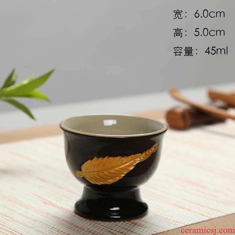 Black pottery glaze of blue and white porcelain tea set celadon teacup manually relief cup sample tea cup hand - made kung fu tea cups