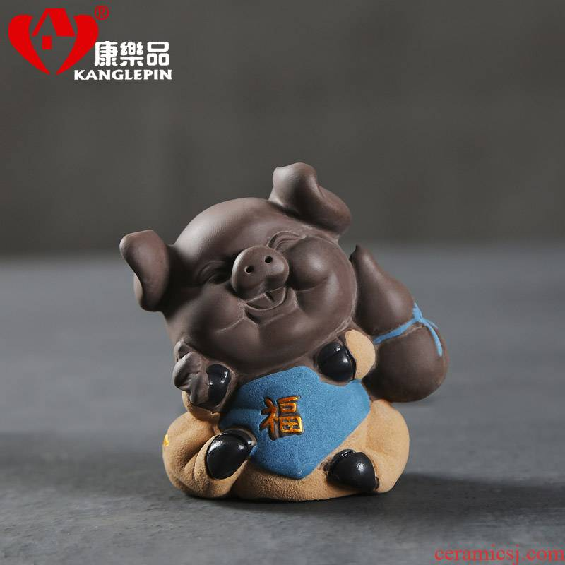 Recreational product wufu pig violet arenaceous fine tea pet fortune ceramic that occupy the home furnishing articles, lovely pig eight quit to tea accessories