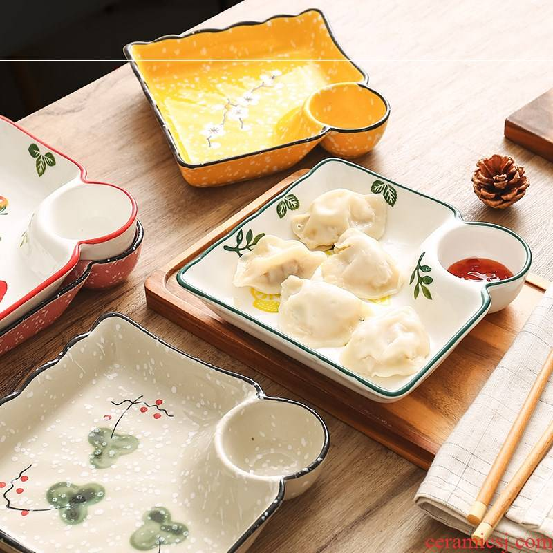 Creative dumplings Japanese vinegar disc ceramic frame plate dribbling square home plate dumplings large tray