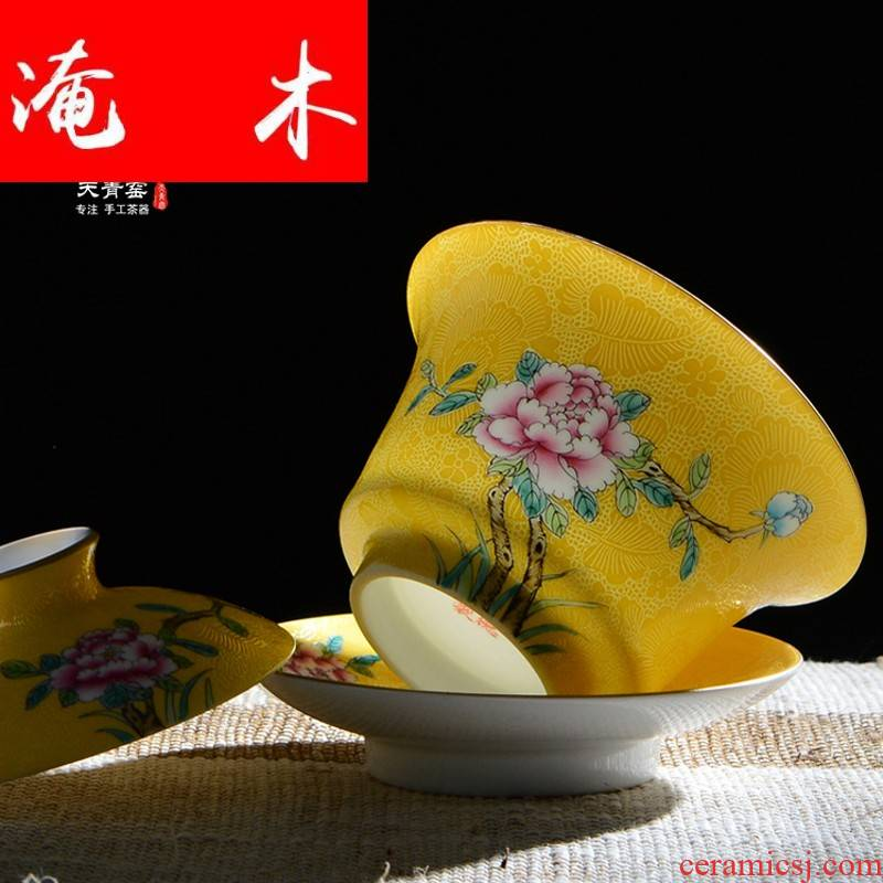 Flooded tureen teacups hand - made wooden jingdezhen ceramics powder enamel large three see kung fu cup to use manual pick flowers