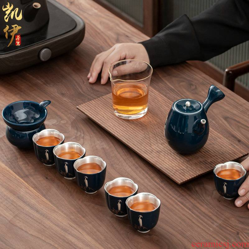 Ji blue Bai Luliu silver kung fu tea set jingdezhen ceramic tea tea side suit the pot of silver cups