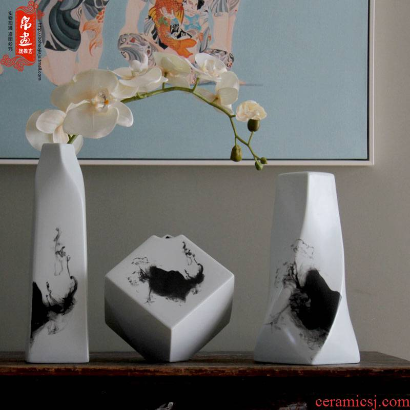 Ceramics creative irregular freehand brushwork in traditional Chinese ink painting ceramic flower show home decoration porcelain furnishing articles