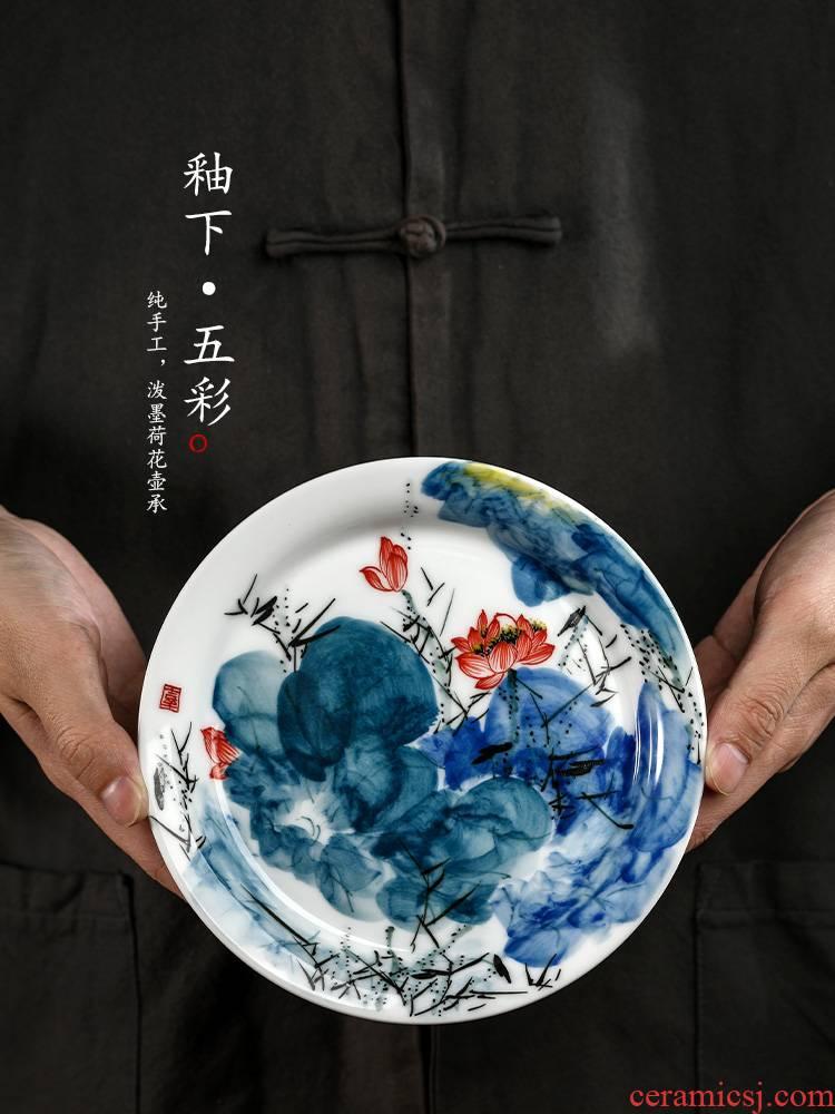 Jingdezhen hand - made lotus flower pot of bearing dry mercifully machine saving water pure manual kung fu tea tea tray ceramic accessories Japanese