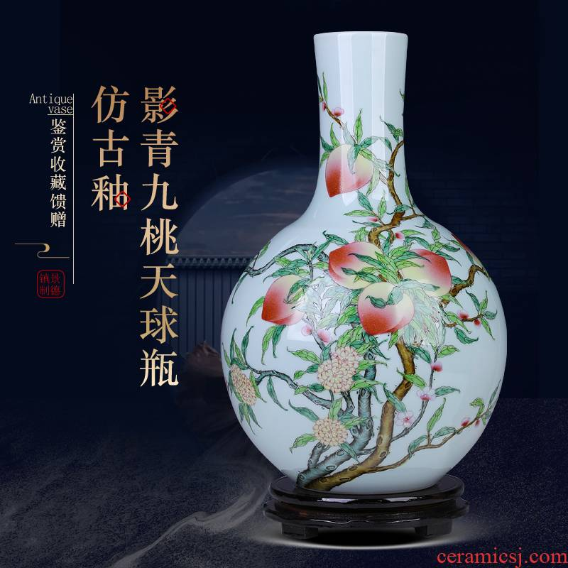 Jingdezhen antique hand - made nine peach ceramic vase is placed flowers, dried flowers, flower implement large sitting room office
