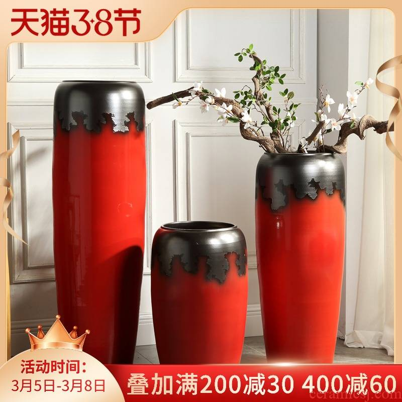 Jingdezhen ceramic hotel dry flower arranging large vases, I and contracted sitting room window furnishing articles pottery flowerpot landing
