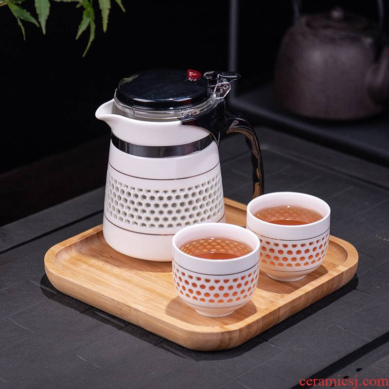 Office ceramic tea cup tank filter household teapot and kettle hollow out elegant cups kung fu tea set