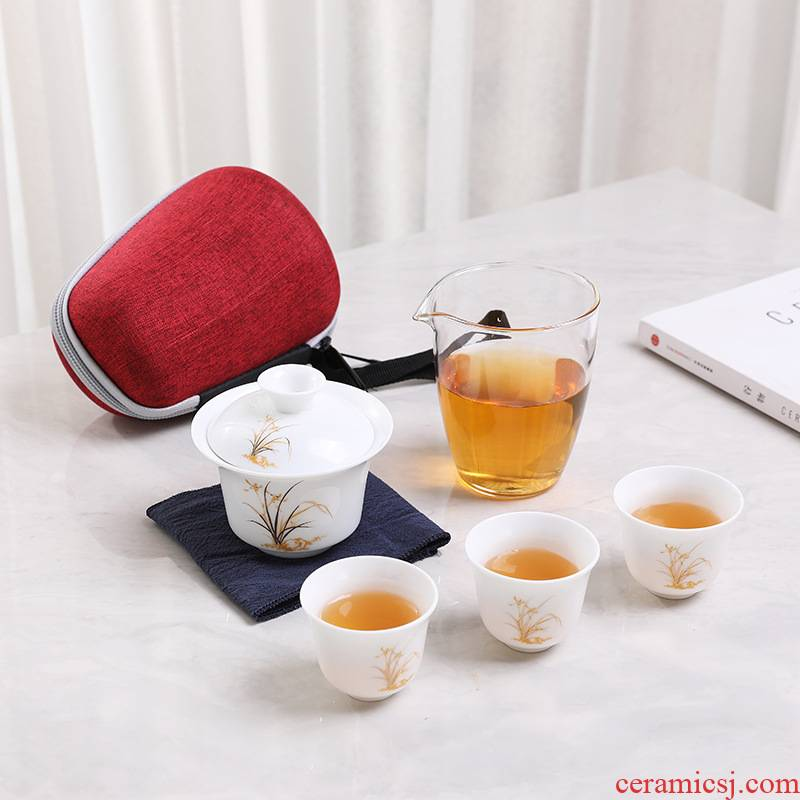 White porcelain travel kung fu tea set to crack a pot of work package tureen fourth individual special tea cups