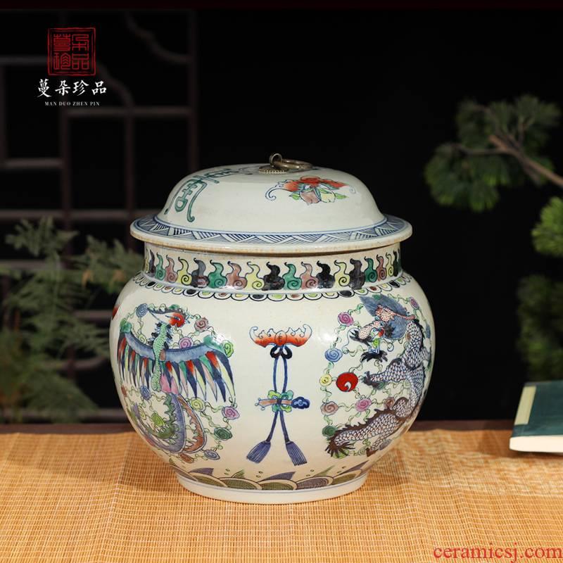 Jingdezhen porcelain dragon tank