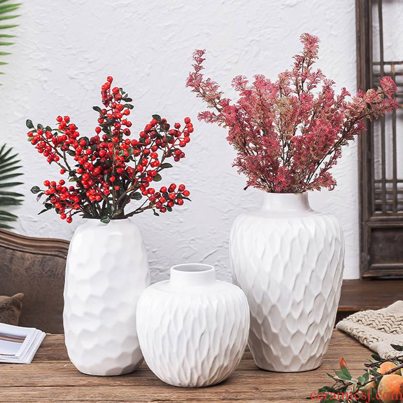 Ceramic vases, small white is pure and fresh and dried flowers all over the sky star, modern hydroponic flower arrangement sitting room European furnishing articles home decoration