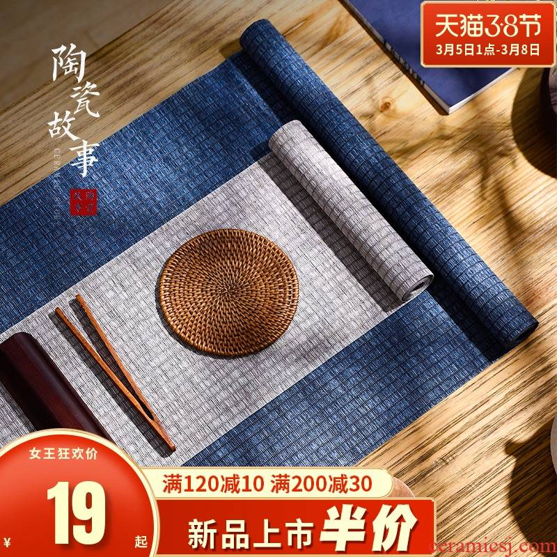 The Story of pottery and porcelain tea mat bamboo tea towel cloth waterproof as high - end tea tray with Japanese zen Chinese tea taking