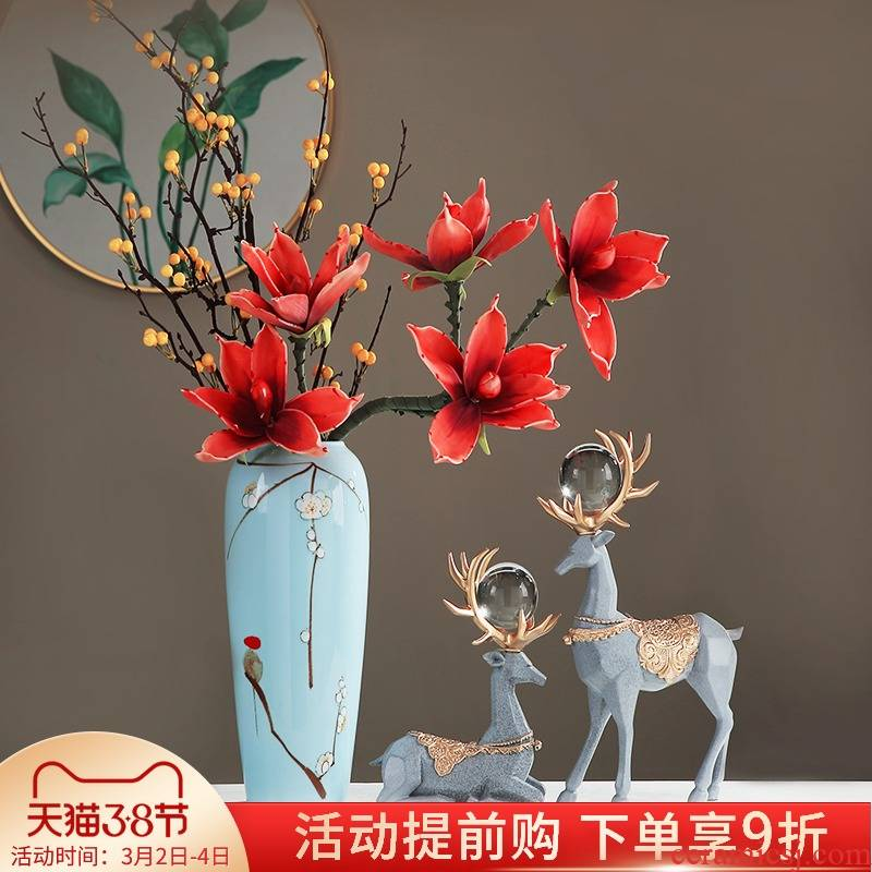 The New Chinese vase of jingdezhen ceramic flower arranging dried flowers, wine accessories furnishing articles, the sitting room porch floral decoration