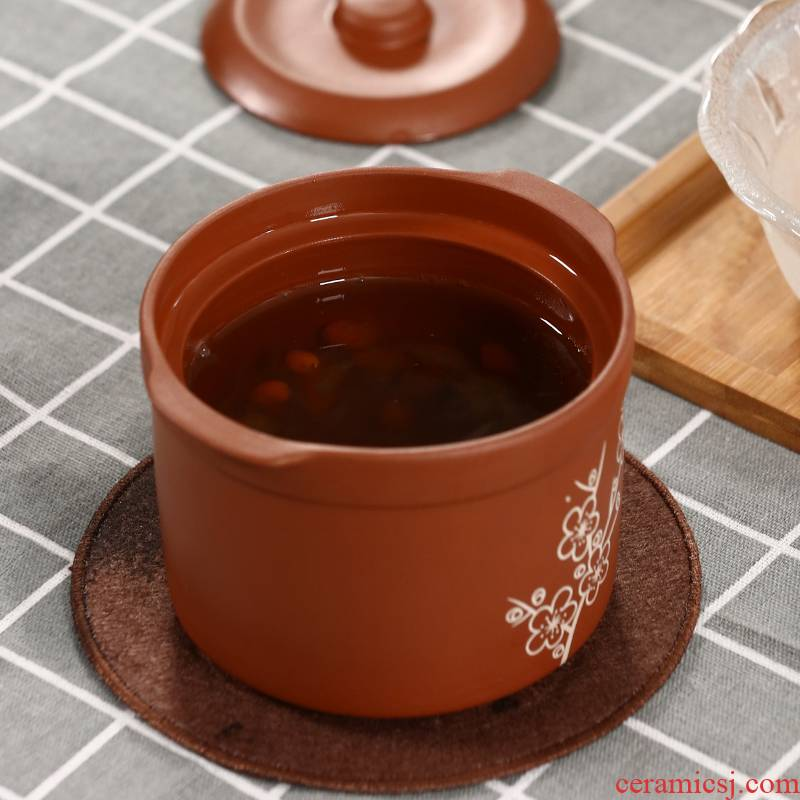 Violet arenaceous stew with cover ceramic dual cover water stew soup bowl potted household health ginseng bird 's nest soup stew pot