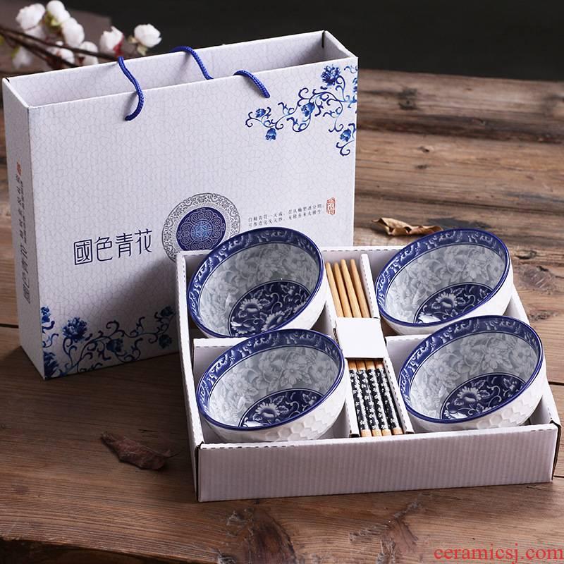 Ceramic dishes household tableware suit eating the food bowl porcelain tableware wedding gift set festival gift custom