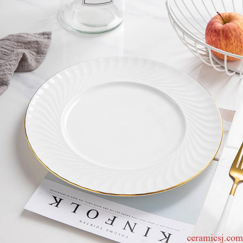 Jingdezhen ceramic European - style originality up phnom penh tableware suit pure white steak flat ipads porcelain dinner plate round plate