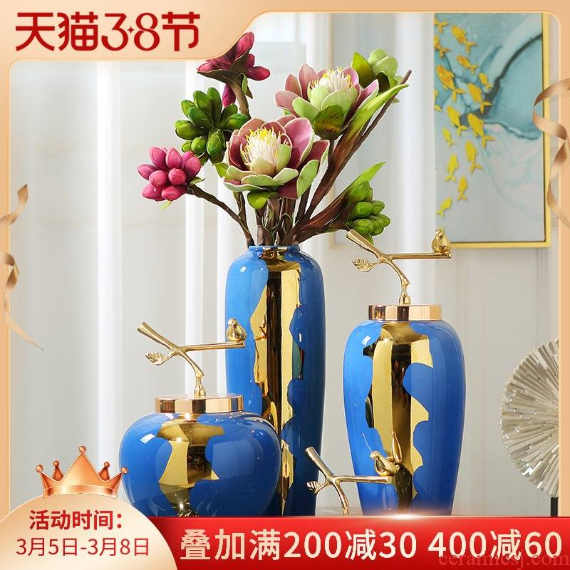 New Chinese style light key-2 luxury ceramic vase table between example simulation flower arranging device furnishing articles, the sitting room porch home decoration