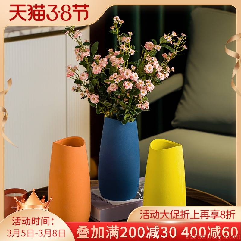 I and contracted Nordic creative living room TV cabinet ceramic vase flower arranging furnishing articles table light much dry flower decoration