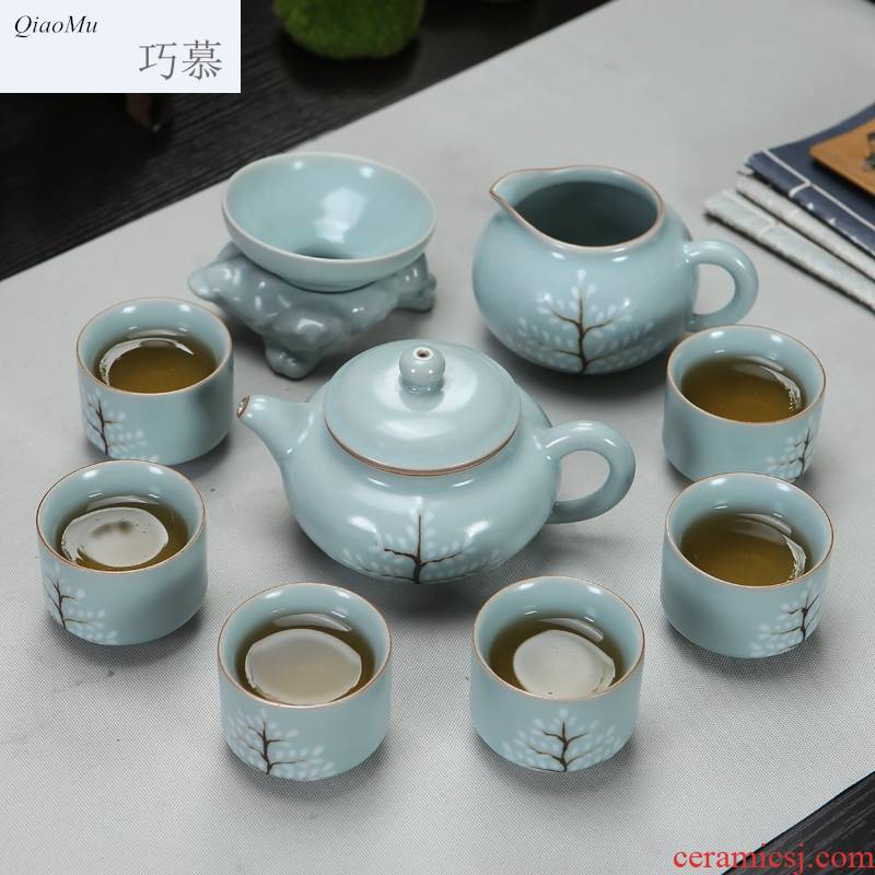 Qiao longed for up kung fu tea set suits for your porcelain of a complete set of travel tea set the teapot teacup office household hand draw your up