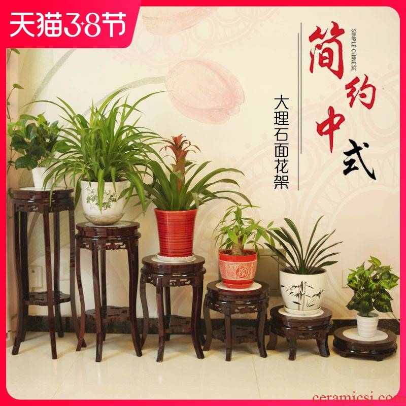 Solid wood, marble miniascape of multilayer frame antique flower wearing Chinese style ready chlorophytum balcony orchid tank base