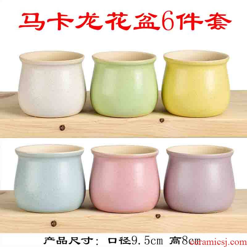 Fleshy flowerpot creative move, lovely household ceramics size diameter violet arenaceous basin of the old running the furnishing articles decorative flower pot