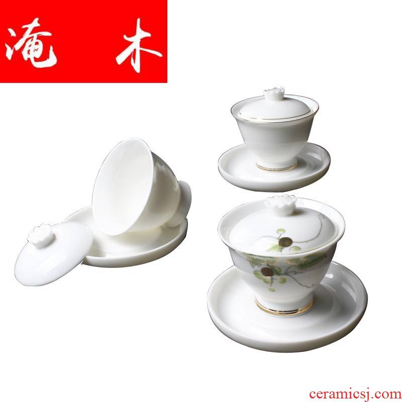 Flooded the wooden hand grasp suet jade only three tureen individual household ceramics kung fu tea set large dehua white porcelain cups