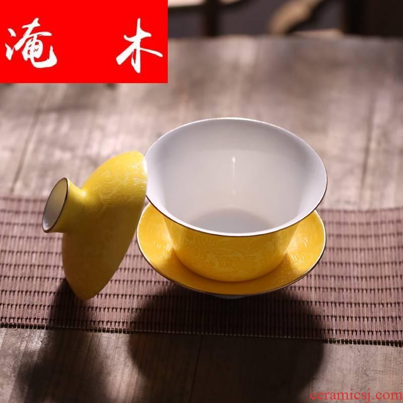 Submerged wood paint pick flowers tureen jingdezhen ceramic checking kung fu tea set hand - made pastel three tureen