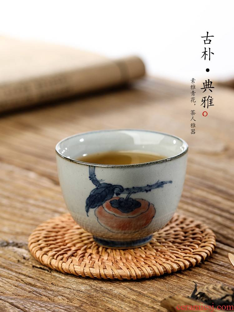 Jingdezhen blue and white hand - made master cup checking clay sample tea cup single CPU kung fu tea set persimmon tea cup only