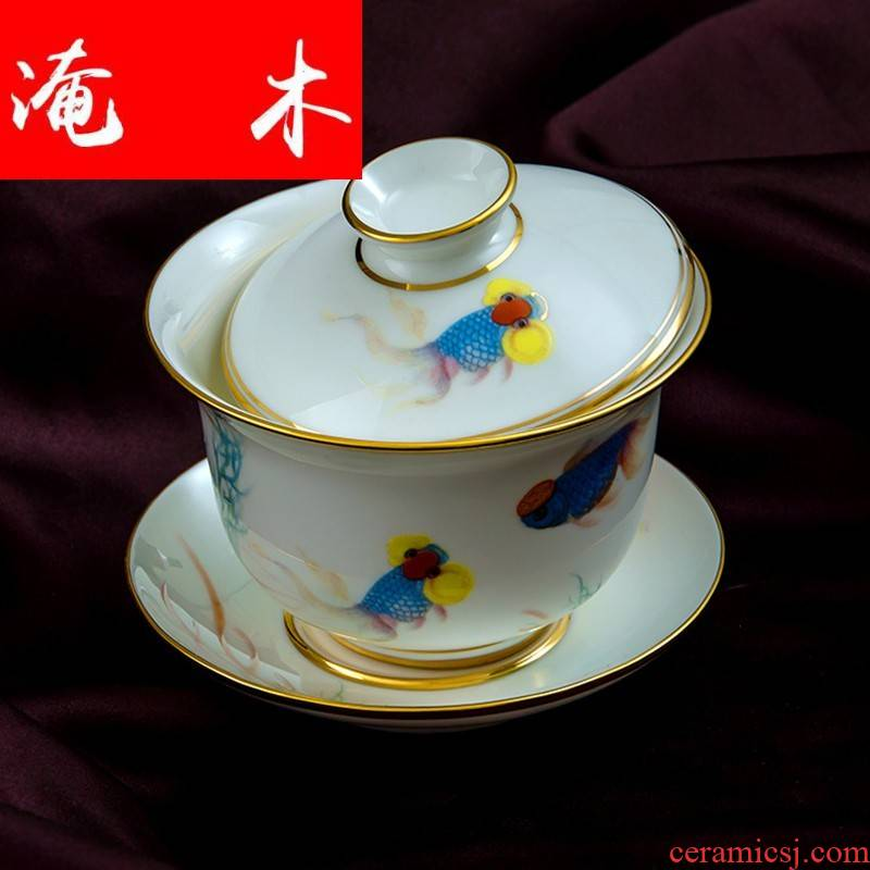 Submerged wood made tea tureen bowl jingdezhen hand - made pastel large only three bowl of ceramic cup