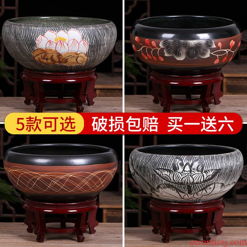 Jingdezhen ceramic aquarium desktop small place, a feng shui home sitting room turtle pond lily goldfish bowl lotus basin