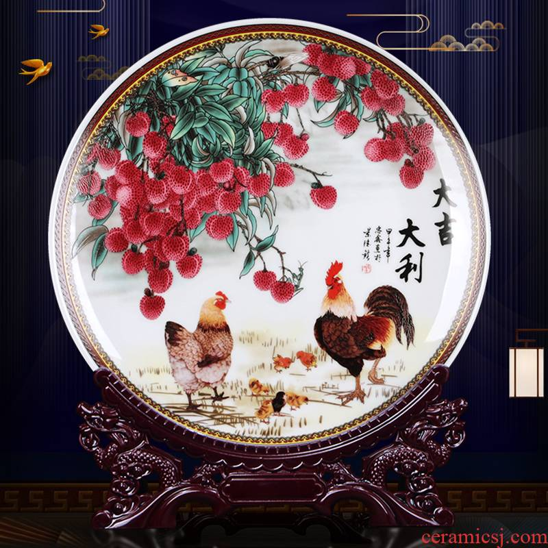 Hang dish Hang dish of jingdezhen ceramics decoration plate Chinese style living room home wine cabinet TV ark adornment furnishing articles