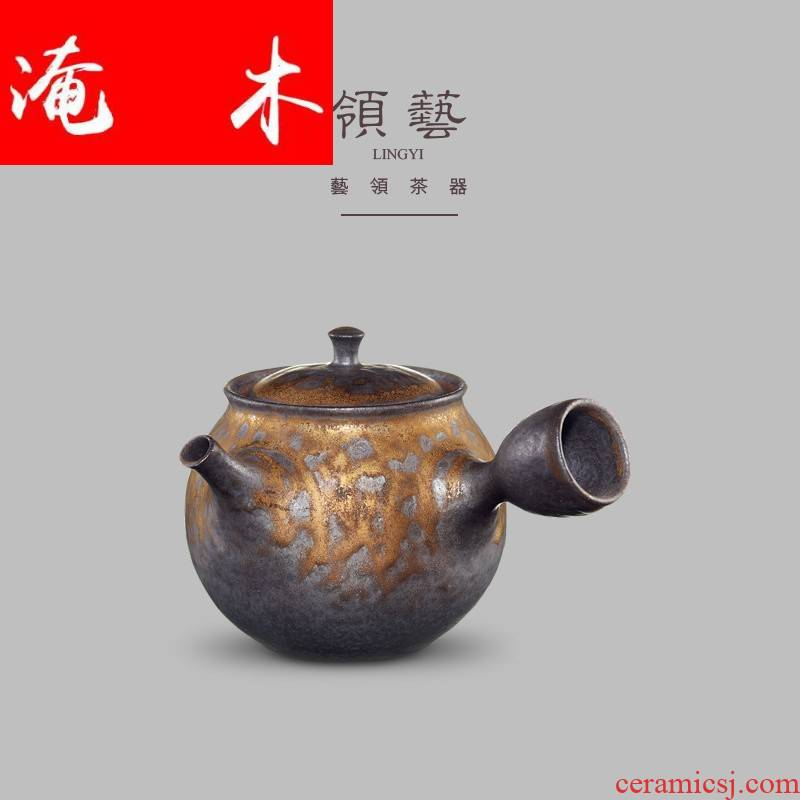 Submerged wood craft fine gold glaze iron teapot hand made ceramic glazed pottery pot side put the pot of kung fu tea teapot tea taking