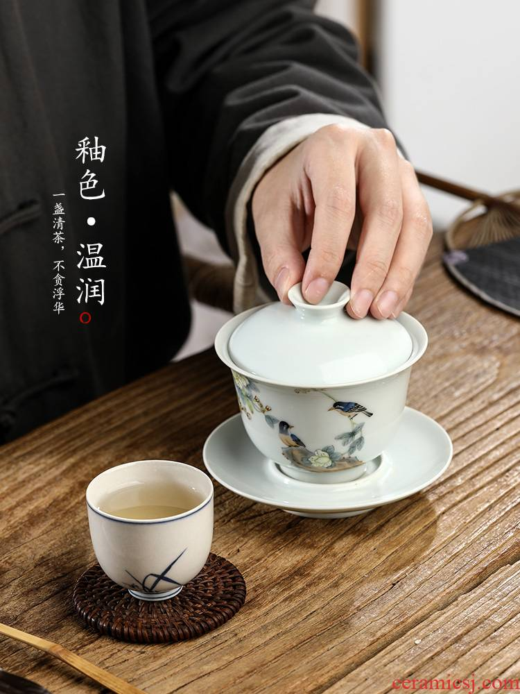 Pure manual only three tureen tea cups large hand - made painting of flowers and prevent hot bowl of jingdezhen kung fu tea set. A single