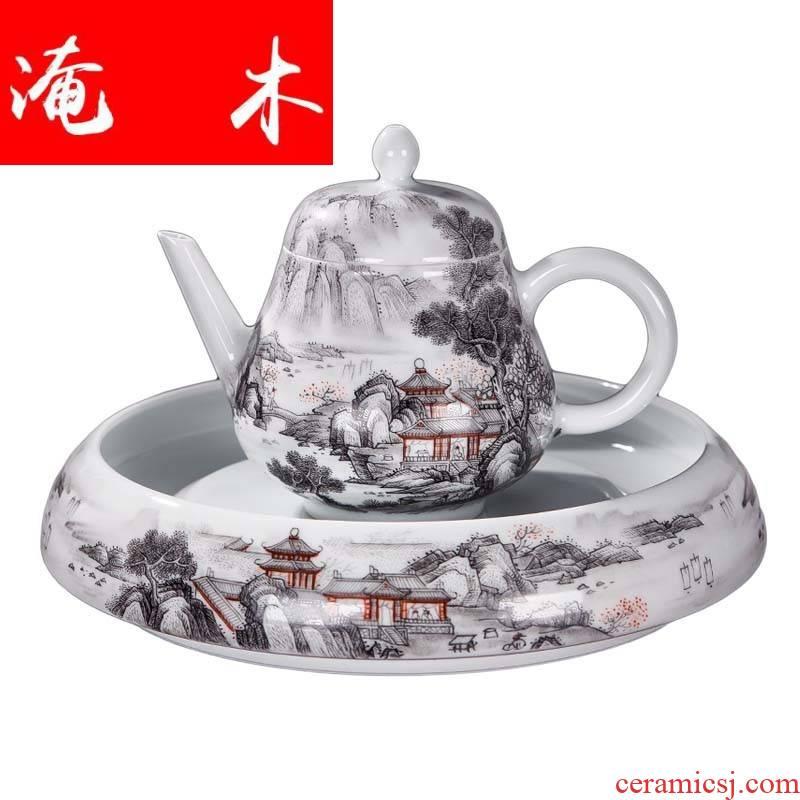 Submerged wood set of jingdezhen ceramics hand - made color ink cup pot pot of kung fu tea set small sample tea cup of tea
