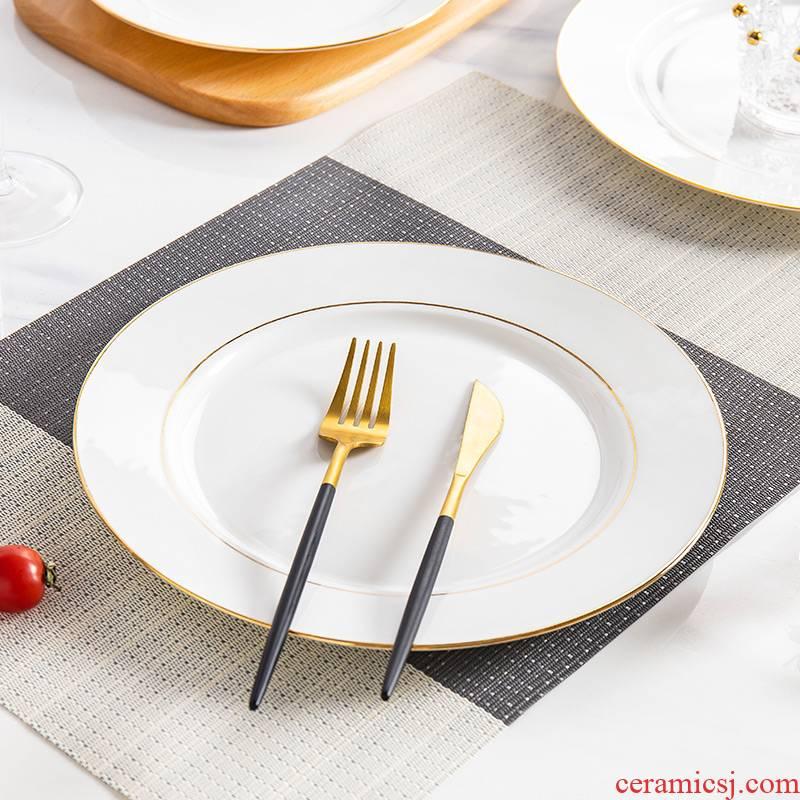 Jingdezhen porcelain ipads steak plate creative up phnom penh ceramic dinner plate suit dish dish square plate steak knife and fork dish