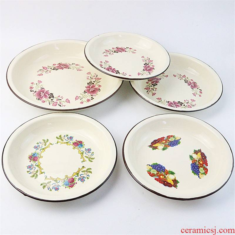 Thickening enamel enamel FanPan classic printing vegetable dish of cold dish/24/26 to 20/22 large iron plate disc