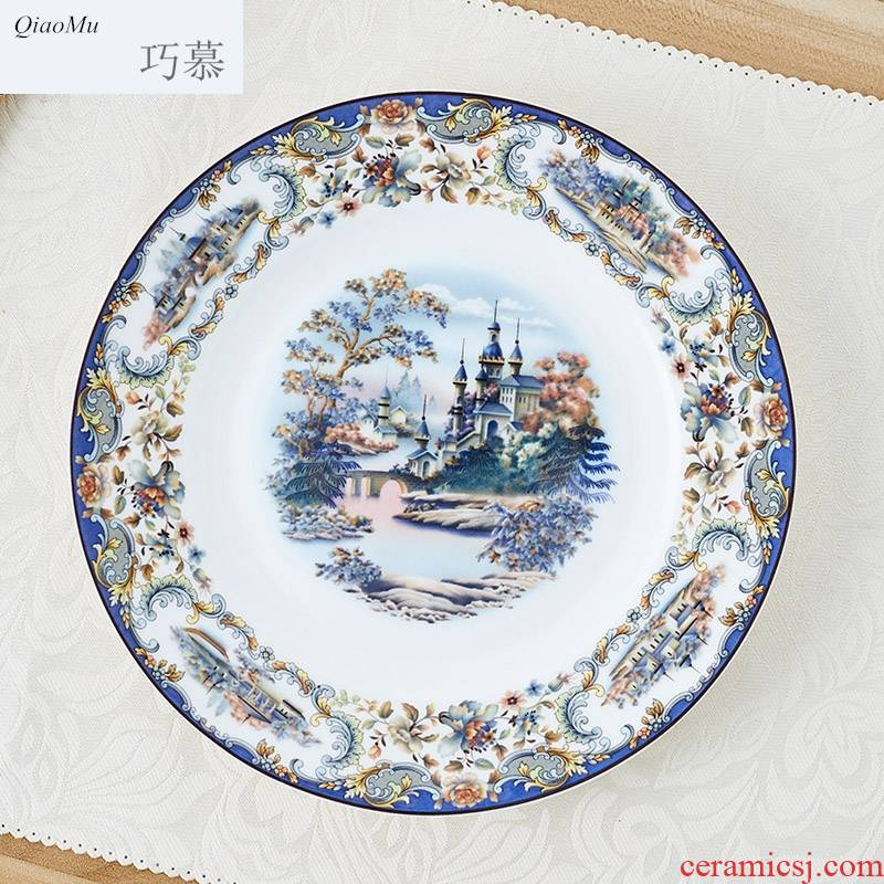 Qiao mu high dishes suit 56 skull jingdezhen porcelain tableware suit ceramic bowl bowl plate household glaze for dinner