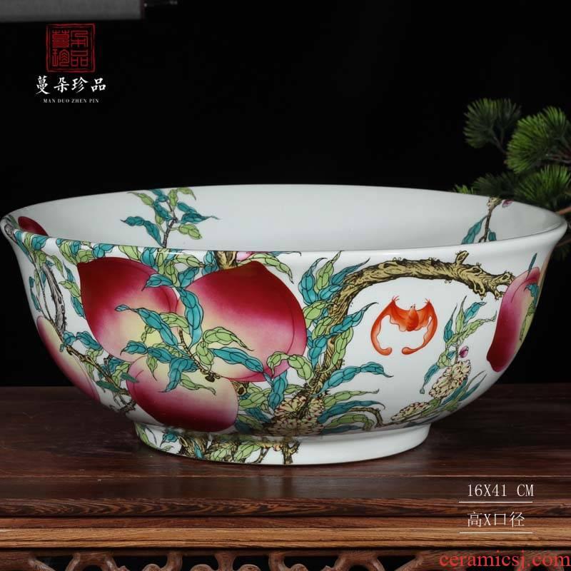 Jingdezhen red pomegranate large bowl of high - grade artistic flowerpot goldfish fish bowl xiantao vats