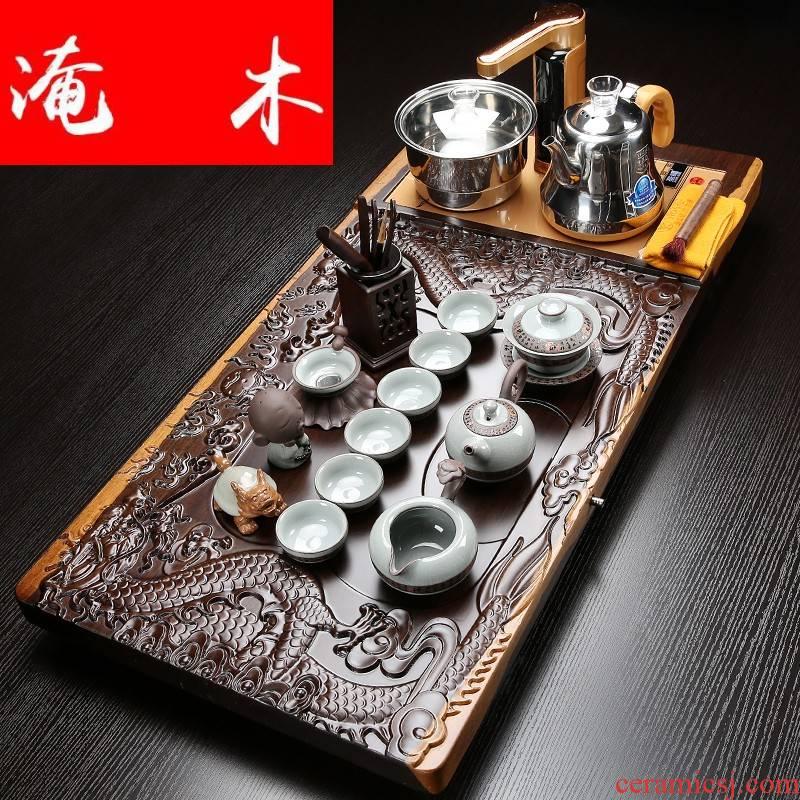 Flooded ebony wood tea tray of a complete set of violet arenaceous elder brother up kung fu tea set tea sets tea sea induction cooker household