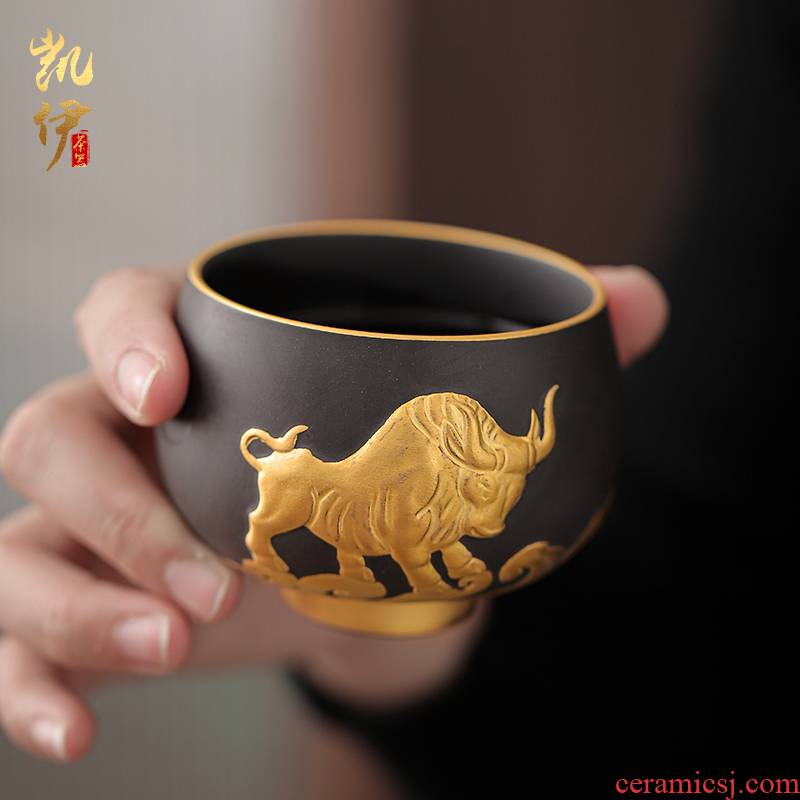 Gold purple cattle turned things around the sample tea cup large master cup kongfu master cup tea cup tea individual cup