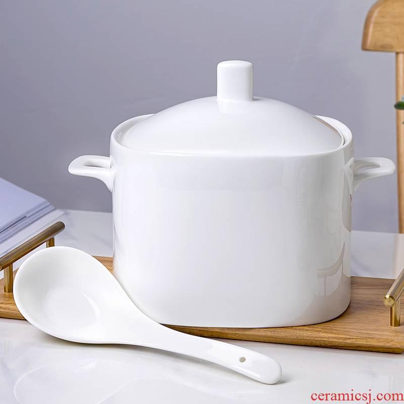 Jingdezhen white ipads China tableware square Korean white pot ceramics tableware suit soup pot large soup bowl