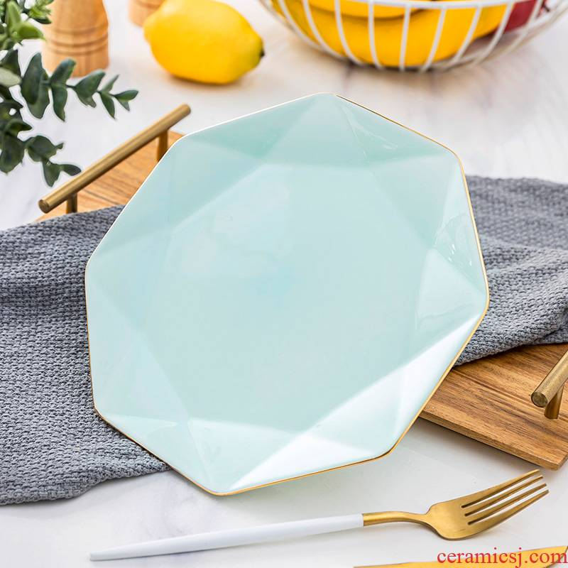 Jingdezhen tableware up phnom penh celadon deep dish diamond ceramic disc continental plate household creative ipads porcelain anise 0