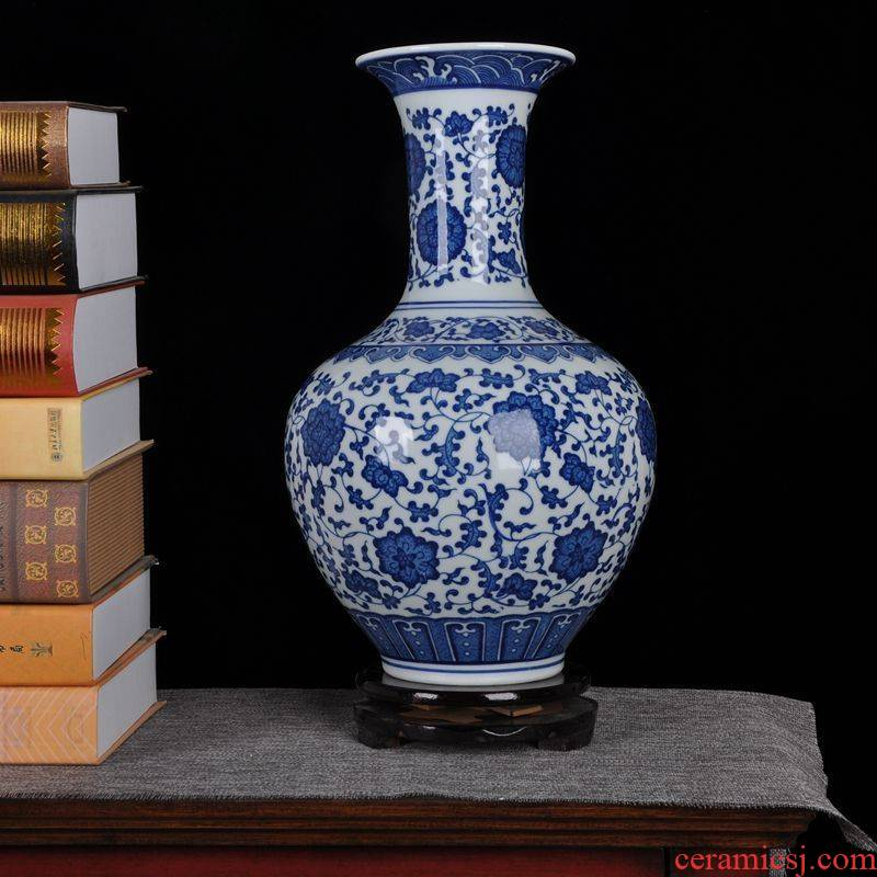 Jingdezhen ceramics modern blue and white porcelain vase home furnishing articles sitting room adornment ornament arts and crafts