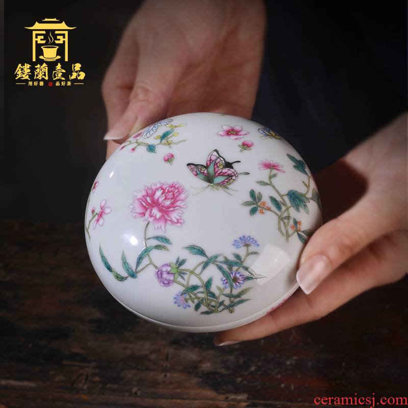 Jingdezhen ceramic hand - made pastel recent jewelry with box to receive a box of four treasures inkpad inkpad box cylinder