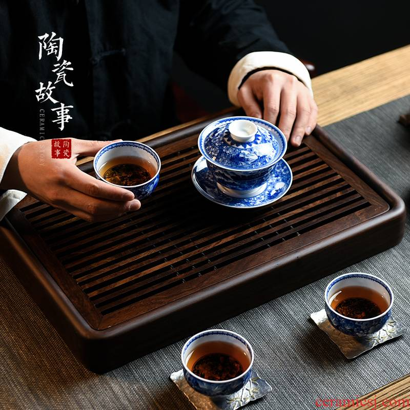 Ceramic story home small tea table plate of I and contracted drop ground dry terms wood kung fu tea set solid wood pallets