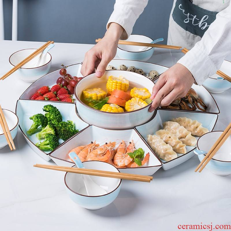 Ceramic platter tableware for household combined creative round fan type plate net hot pot dishes suit reunion
