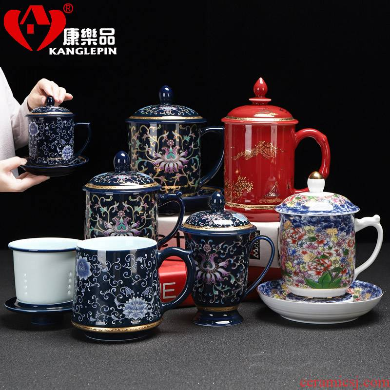 Recreational product office of blue and white porcelain cup tea business ceramic cup with cover large capacity of single glass with the boss